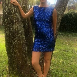Sequined Blue Minidress